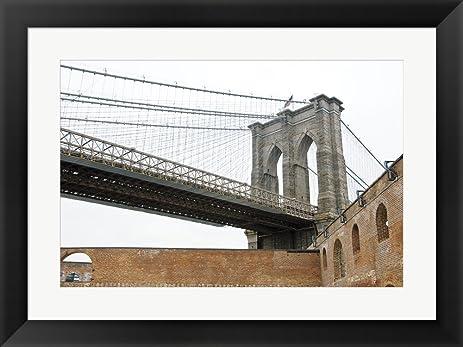 Amazon.com: Brooklyn Bridge (brick walls) by Erin Clark Framed Art ...