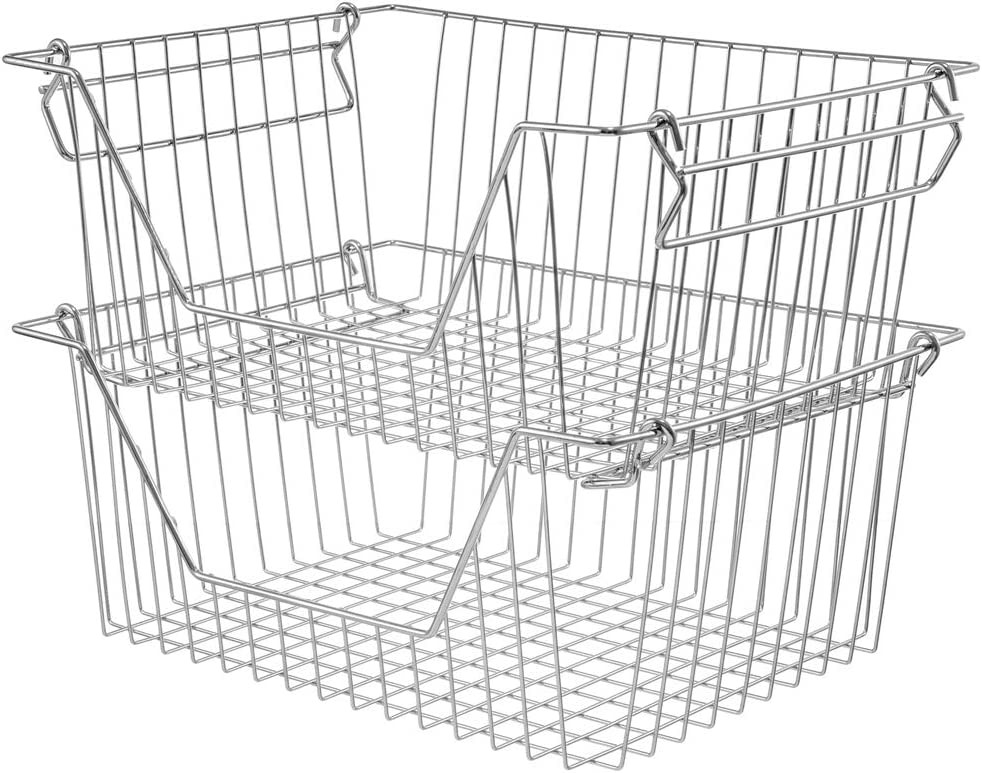 Slideep 14'' Large Stackable Storage Baskets Cabinet Organizer Sturdy Metal Wire Pantry Freezer Bin for Pantry Home Bathroom Kitchen Organization 2 Packs