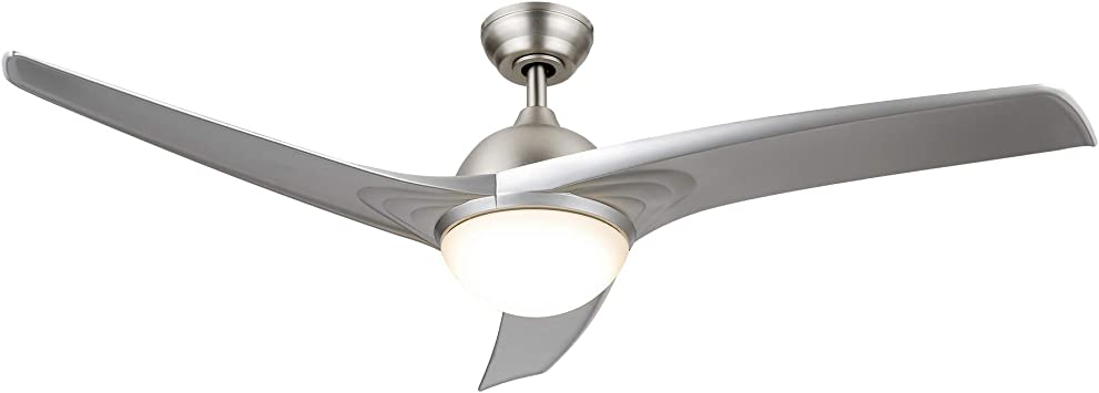 Amazon Com Co Z 52 Modern Ceiling Fan With Lights And Remote Contemporary Ceiling Fans Brushed Nickel Memory Indoor Led Ceiling Fan For Kitchen Bedroom Living Room 3 Reversible Abs Blades In Brushed Nickel