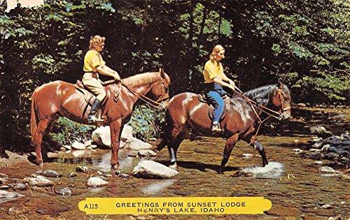 Henrys Lake Idaho Sunset Lodge Horse Riding Antique Postcard -
