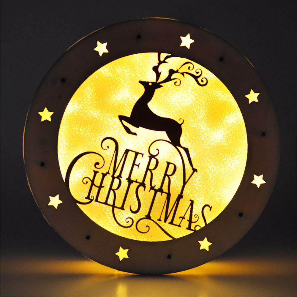 eZAKKA Christmas Reindeer Nightlight Desk Kids Bedroom Decoration Lamp Colorful Santa Wooden Decor by eZAKKA (Image #8)