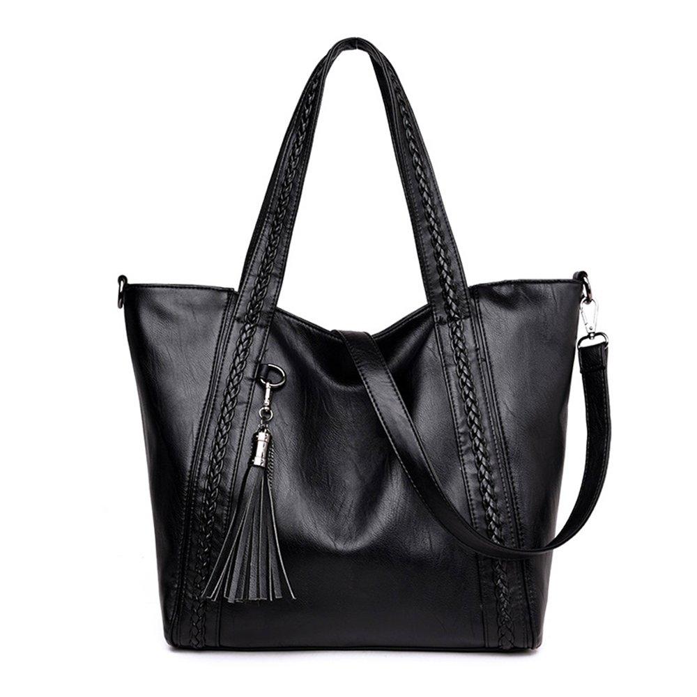5c0a71391a1 Mn Sue Large Soft Washed Leather Women Handbag Braided Satchel Hobo  Shoulder Tote Bag with Tassel (Black)
