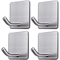 BRITOR Adhesive Hooks Heavy Duty Wall Hangers Hooks Waterproof Stainless Steel Stick on Wall Hooks for Hanging Kitchen…
