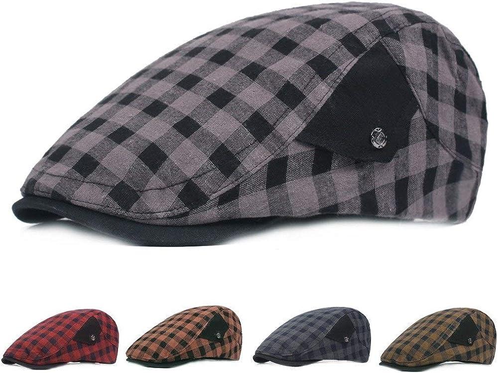 Centenarios Mens Fashion Simple Plaid Cap Retro Classic Beret