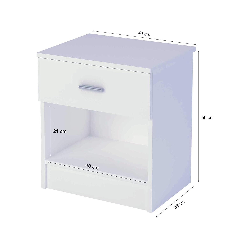 Bianco 50 x 44 x 36 cm Samblo Nami Comodino con Cassetto Legno