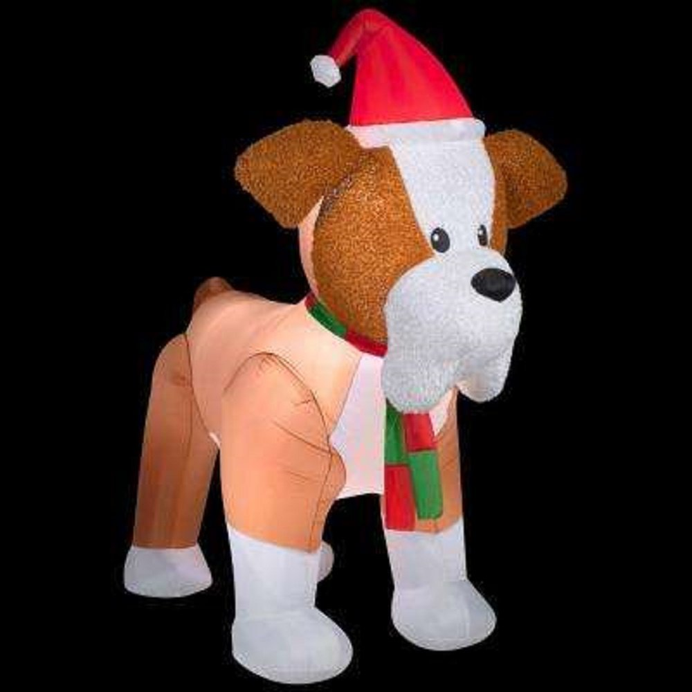 Christmas Inflatable Giant Fuzzy Plush English Bulldog Airblown Holiday Decoration By Gemmy