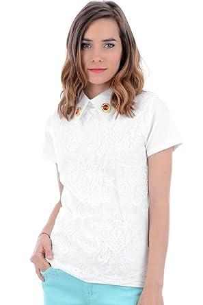 Womens White Lace Jeweled Collar Blouse White Small Uk 8 10