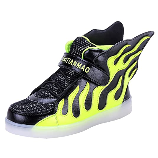 Tricanide Kids 7 Colors USB Charging LED Flashing Sneaker High Top with Flame Elements