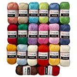 20 Skein Yarnart Begonia Yarn, 100% Mercerized Cotton, Each 1.76 Oz (50g) / 185 Yrds (169m), Fine Sport: 2 (Color: Multicolored, Tamaño: 20 Balls)