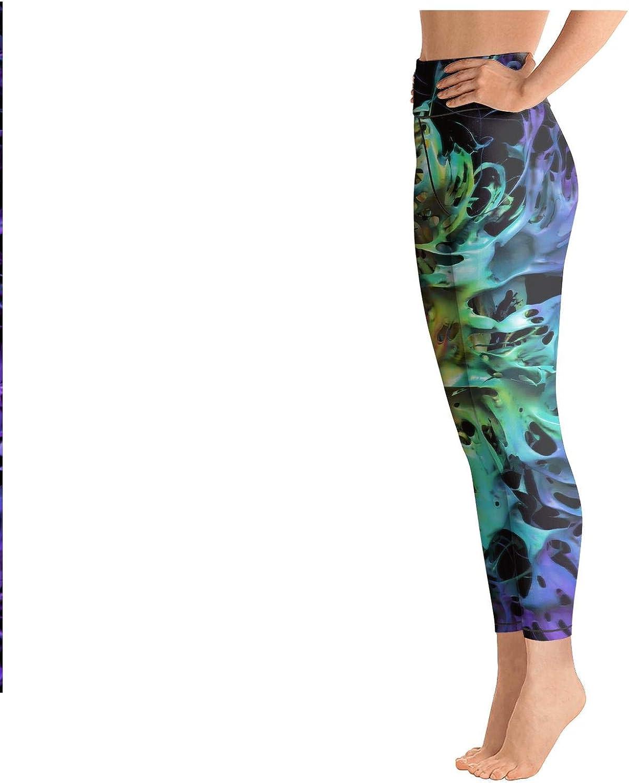 DFGHFGFQ Womens Yoga Pants Cool Trippy Fractal Fashion Elastic Gym Tights Activewear Bra