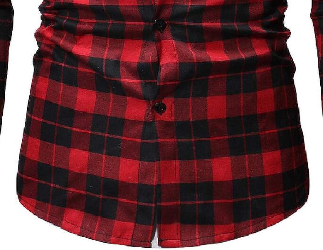 Jotebriyo Men Casual Slim Long Sleeve Plaid Print Hoodie Button Down Shirt