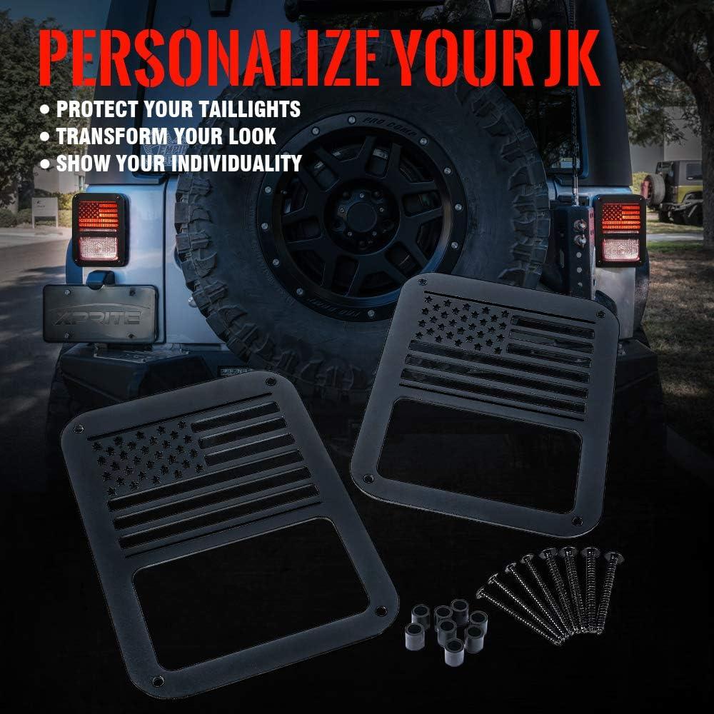 JeCar Jeep Tail Lights Protector Metal Taillight Rear Lamp Cover Guard for Jeep Wrangler 2007-2017 JK/&JKU Star 1Pair
