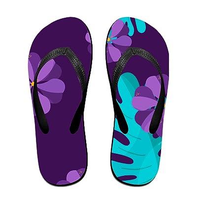 71c0a10caf78eb Tropical Flowers Sandals Flip Flops Black Beach Slippers Light Weight Flip  Flops