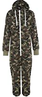 KIDS ARMY CAMO PRINT ONESIE HOODED JUMPSUIT ALL IN ONE BOYS GIRLS FLEECE AGES 2-3, 3-4, 5-6, 7-8, 9-10, 11/12, 13/14 YEARS