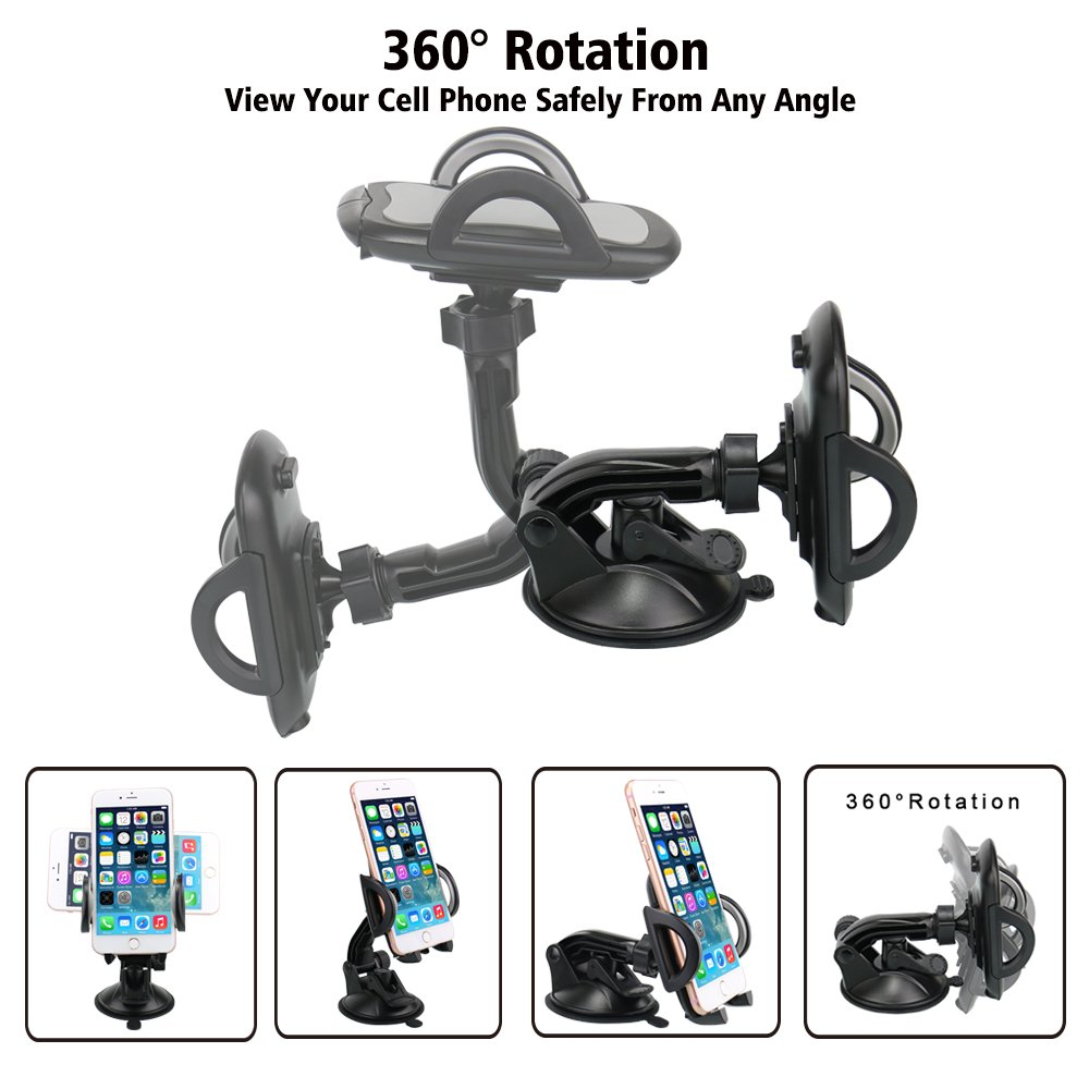 Car Phone Mount,OHLPRO Cell Phone Holder For Car Dash Windshield Dashboard Universal 360°Adjustable Rotating for iPhone Samsung SONY Google All 4''- 6.4'' Smartphones GPS Mobile (Silver) by Ohlpro (Image #5)