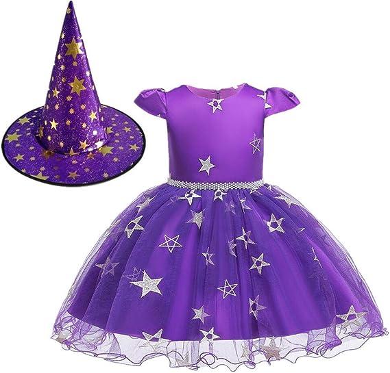 9 Robe FANTAISIE Fille Enfants Halloween Enfants Costume Citrouille Sorcière Princesse Âge 7