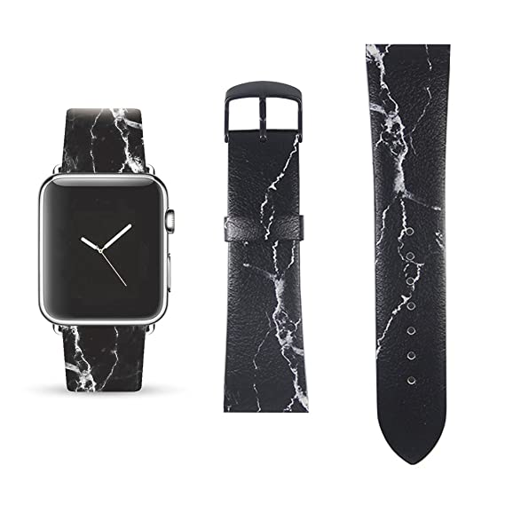 e68880e07 Amazon.com: Black Marble Replacement Band Compatible for iWatch 42mm/44mm  Pastel Bay Wrist Band PU Leather Strap for Apple Watch Smartwatch Series 4  3 2 1 ...