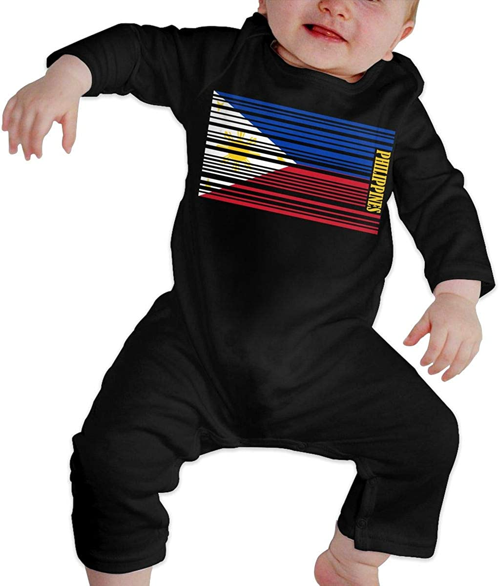 YELTY6F Philippines Barcode Flag Printed Newborn Baby Boy Girl Bodysuit Long Sleeve Pajamas Black