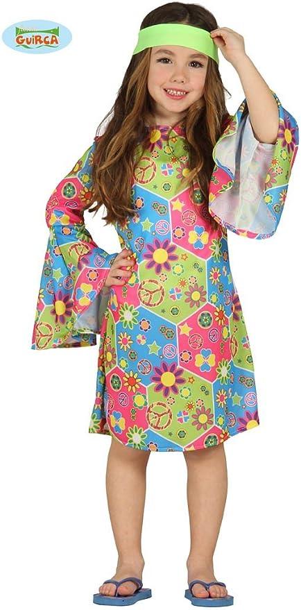 Guirca - Disfraz de Hippie para niña, Multicolor, 3-4 años (95-105 ...