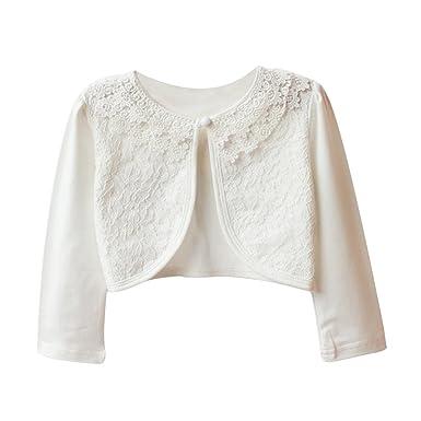 3efe8c6d1 Tidecc Little Girls  Long Sleeve Lace Bolero Cardigan Shrug Button ...