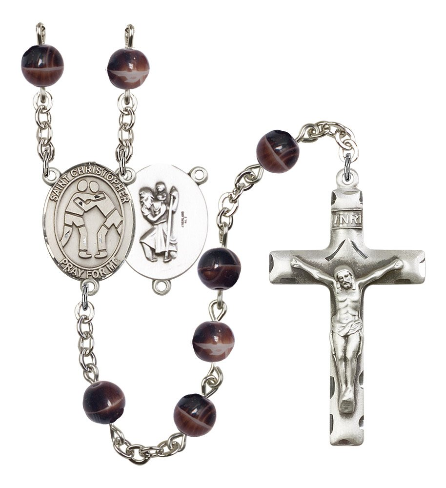 Silver Finish St. Christopher-Wrestling Rosary with 7mm Brown Beads, St. Christopher-Wrestling Center, and 1 3/4 x 1 inch Crucifix, Gift Boxed