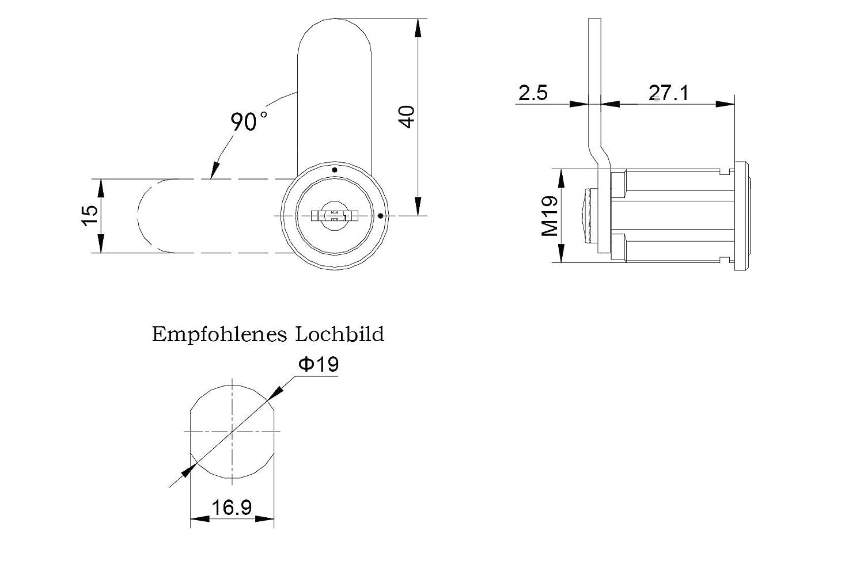 T/ürschloss Briefkastenschloss Cam Lock M/öbelschl/össer Spindt/ürschloss Schrankschloss Zylinderschloss Stahlm/öbel-Spinde-Schr/änke
