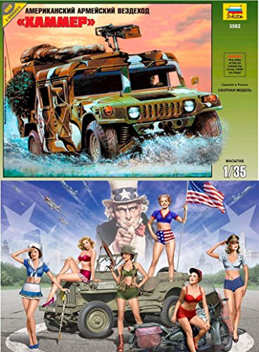 EXCLUSIVE LOT OF 2 PLASTIC MODEL BUILDING KITS MODEL US ARMY CROSS-COUNTRY VEHICLE HUMMER + US GIRLS PIN-UP 6 figures SCALE 1/35 ZVEZDA 3562 + MASTER BOX 35183 - Hummer Model Kit