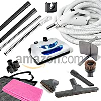 Central Vacuum kit with Powerhead hose and tools for Beam Electrolux Nutone Hayden fits all brands white head (white, 35ft)