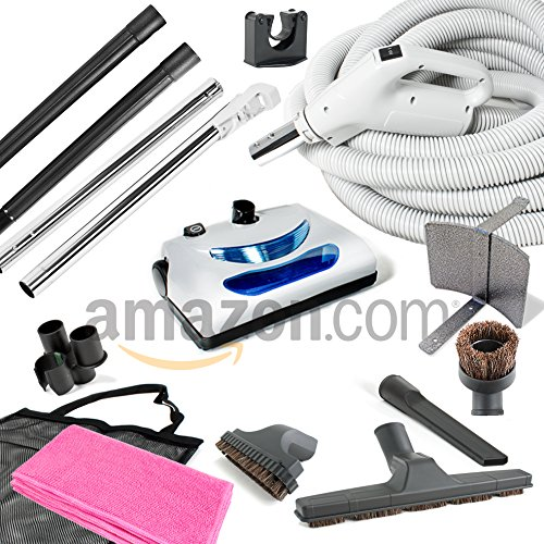 Central Vacuum kit with Powerhead hose and tools for Beam Electrolux Nutone Hayden fits all brands white head (white, 35ft) ()