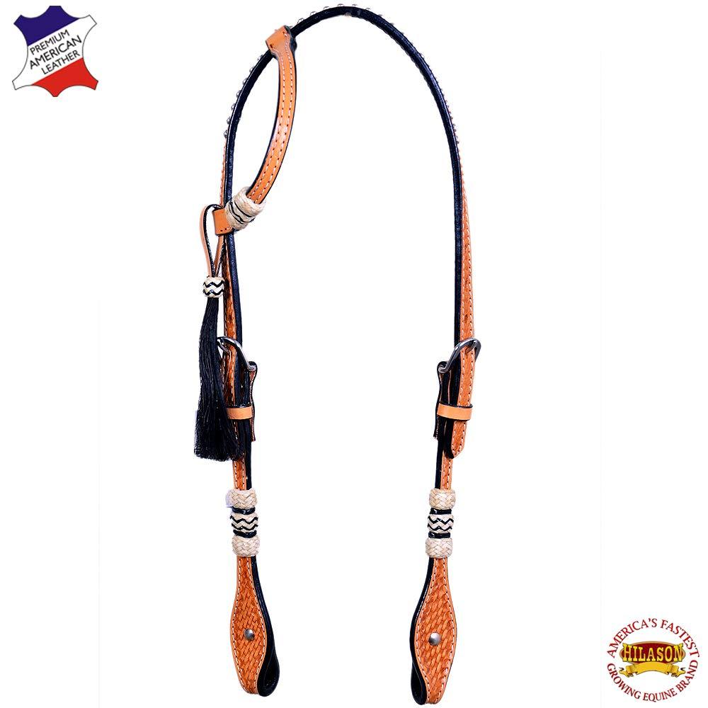 HILASON Western Horse One Ear Headstall American Leather Tan Rawhide