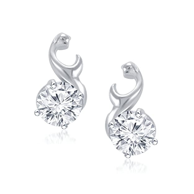 Meenaz Sterling-Silver Stud Earring For Women White- T124 Women's Earrings at amazon