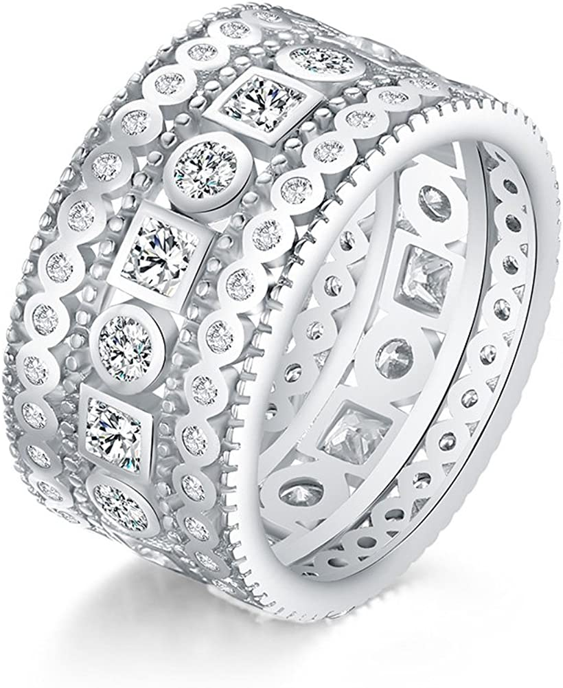 Mozume Sterling Silver 925 Princess Cubic Zirconia Simulated Diamond Eternity Statement Ring Cocktail Wide Band Best Gifts