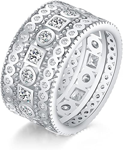 Men/'s Sterling Silver Pave Set White Zirconia Band Style Ring Size 10 Awesome