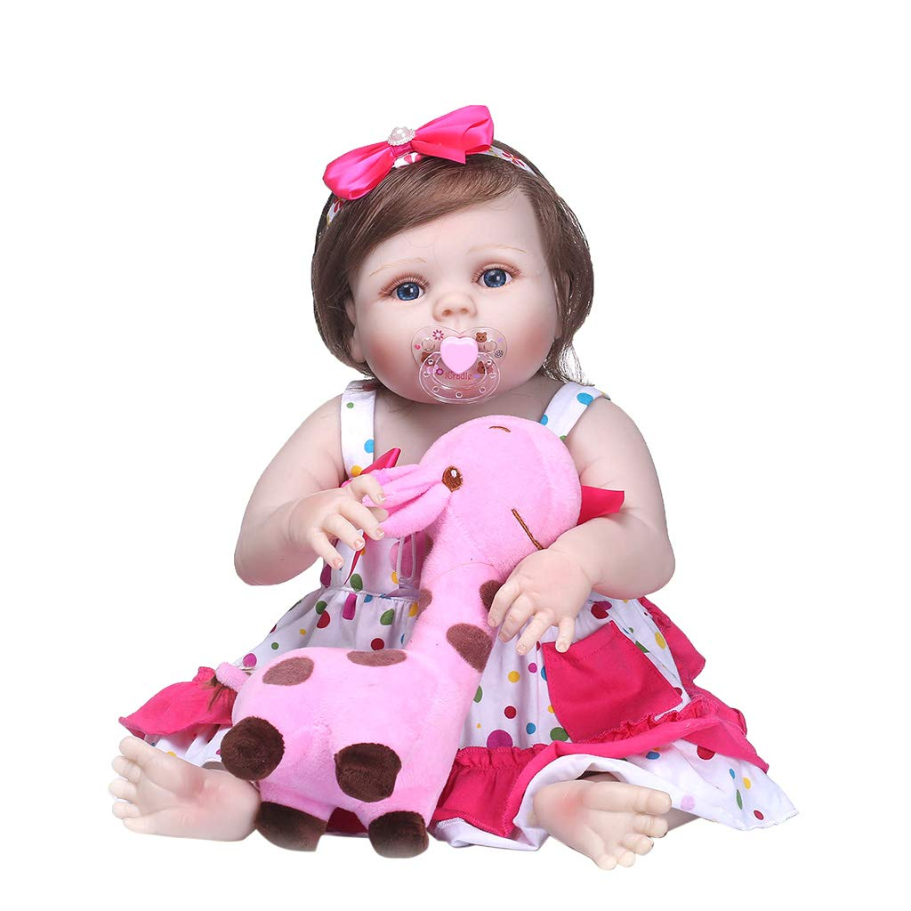 Shoresu , 22inch Full Silicone Born Lifelike Polka Dot Skirt Bow Headband Pink Deer Toy Early Childhood