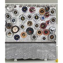 Apartment Decor Steampunk Bathroom Rustic Decorations Clock Vintage Design for Women Bath Home Decorative Ideas in Modern Pop Art Wall Clocks World Times Shower Curtain Gray White Red Black