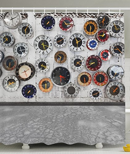 Apartment Decor Steampunk Bathroom Rustic Decorations Clock Vintage Design for Women Bath Home Decorative Ideas in Modern Pop Art Wall Clocks World Times Shower Curtain Gray White Red Black