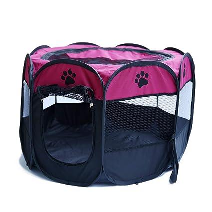 KINJOHI Portátil Mascota Parque Plegable Perros Gatos Interior Exterior Caseta Desmontable Malla Cubierta