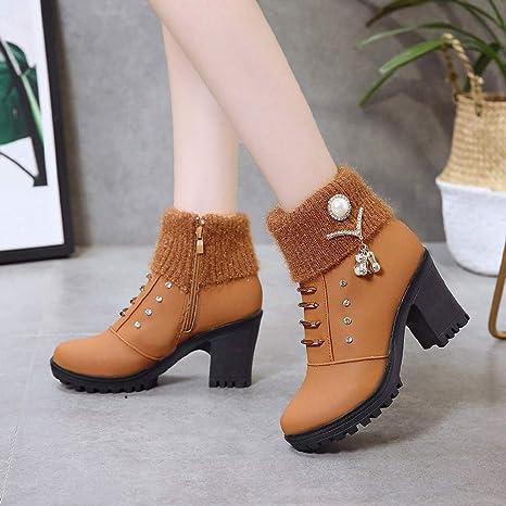 Zapatillas para Mujer by BaZhaHei, Color sólido de Lana Rhinestone de la Mujer Tacones Gruesos Tacones Altos Botines Zapatos de Damas de Mujer de tacón Alto ...