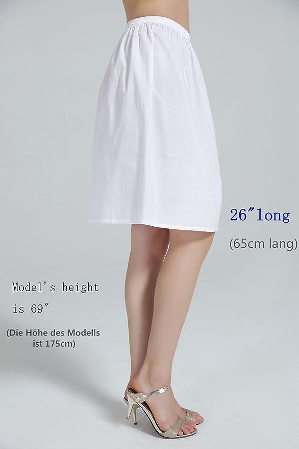 BEAUTELICATE Damen Unterrock 100/% Baumwolle mit R/üschenrand Petticoat Crinoline Vintage Kurz Lang Underskirt Antistatisch M 85CM Wei/ß