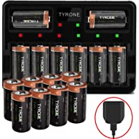 CR123A Batteries with Charger, Tyrone 16 Pack Compatible Arlo Rechargeable Batteries for Arlo Wireless Cameras [ More Than 700mAh 3.7V Batteries with 8-Ports Smart Charger ]