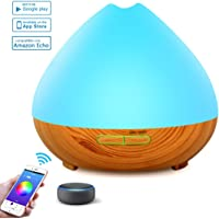 YOMYM - 400ml Wood Grain Ultrasonic Aromatherapy Diffuser & Humidifier - LED & Timer Settings - 7 Color Light Aromatherapy Oil Diffuser Humidifier-Control from Your Phone- Home - Office