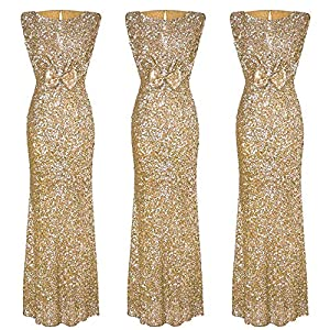Aiserkly Women's Sleeveless Sequin Dress Party Ball Gown Cocktail Formal Dresses Wedding Bridesmaid Dresses Evening Dress Maxi Dress Slim Fit