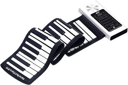 Amazon Com Honey Joy Roll Up Piano Teclado De Piano Portátil De 61 Teclas Silicona De Grado Suave Piano Educativo Recargable Con Pantalla Táctil Led 128 Tonos 128 Ritmos 15 Demostraciones Altavoces Amplificadores