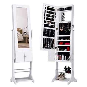 LANGRIA LED Jewelry Armoire Lockable Jewelry Cabinet Full Length Mirrored  Free Standing With Shoe Rack