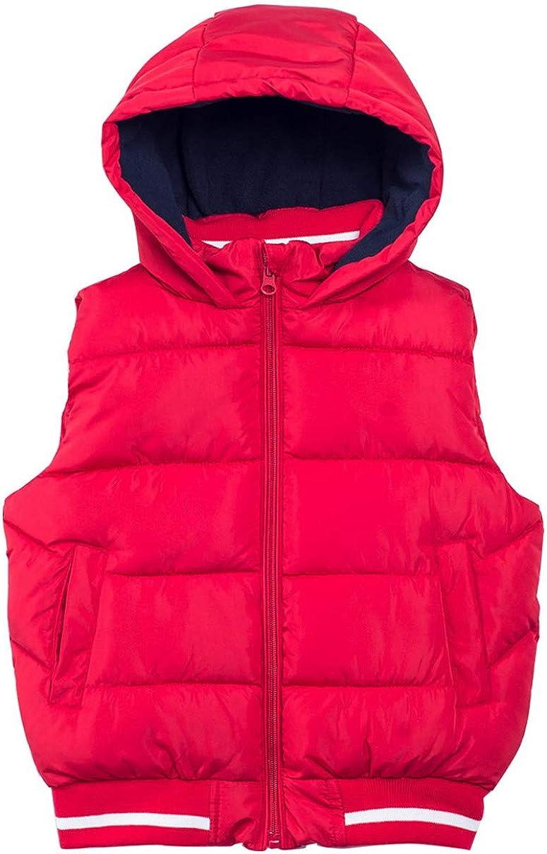 Happy Cherry Kids Unisex Hooded Vest Coat Thick Down Waistcoat Outerwear Fall Winter Warm Sleeveless Jacket
