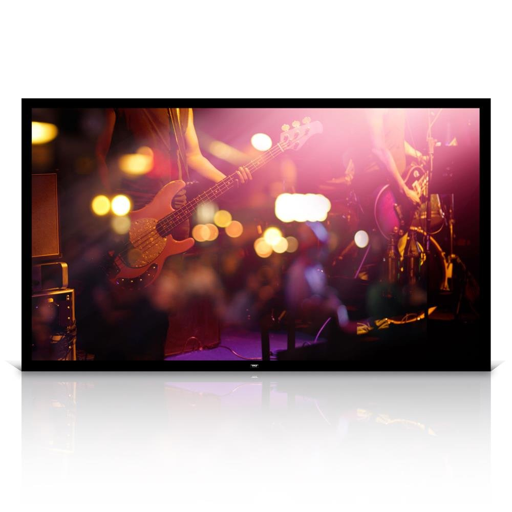 Pyle 100'' Matt White Home Theater TV Wall Mounted Fixed Flat Projector Screen - 100 inch 16:9 Full HD Projection - Easy to Set Up for Room Video, Slideshow, Movie / Film Showing - PRJTPFL102