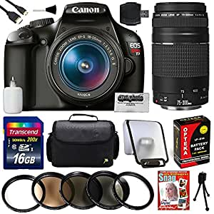Canon EOS Rebel T3 Digital DSLR SLR Camera with 18-55mm IS II + 75-300mm Lenses + 16GB Memory Card + Carrying Case + Extra Battery + HDMI Cable + Professional 5 Piece Filter Set + SD Card Reader + Photography Tutorial DVD Video + Lens Cleaning Kit