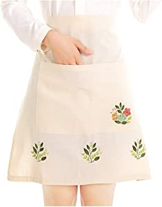 Love Potato Fashion Embroidered Beige Tea Apron, Housework Kitchen Half Waist Apron for Women with Pocket, 22.4 x 21.2 Inches
