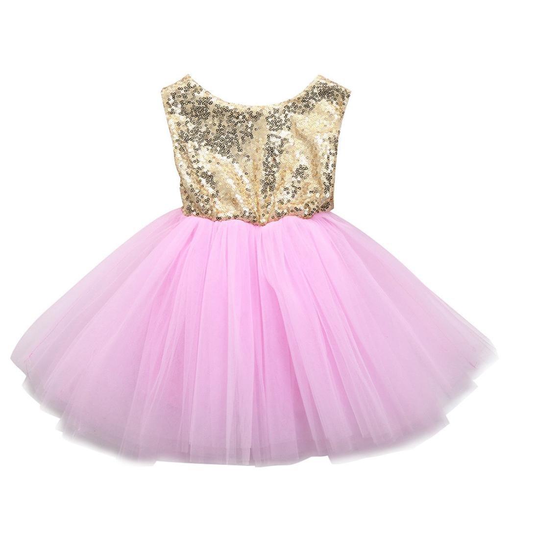 Outfits Sets Kind Janly 0-4 Jahre altes Mä dchen Herz Pailletten Kleid Party Prinzessin Tutu Tü ll Kleider (0-1 Jahre altes, Rosa)
