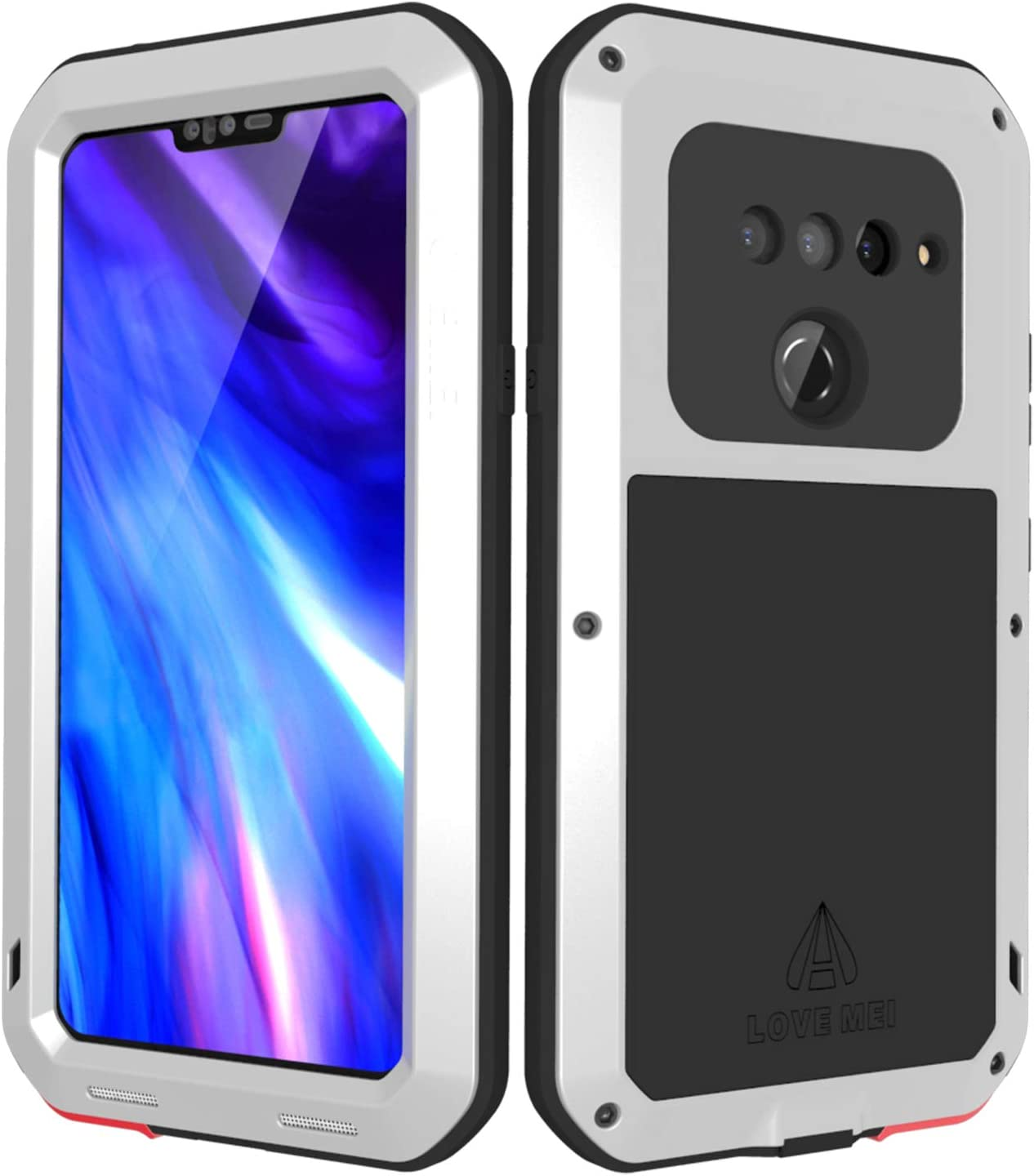 LOVE MEI LG V40 ThinQ Case with Built-in Glass Screen Protector, Wireless Charging Sturdy Cover Shockproof Dustproof Hybrid Metal and Silicone Rugged Heavy Duty Tank Outdoor Case for LG V40(Silver)
